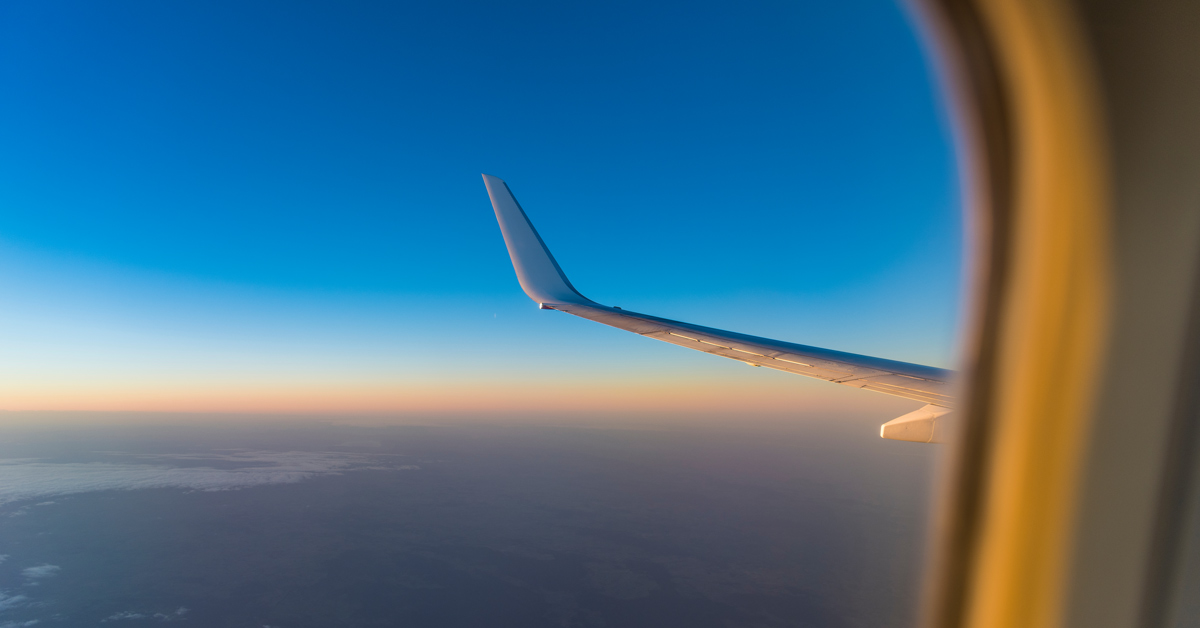 View Of Plane Wing From Within Window