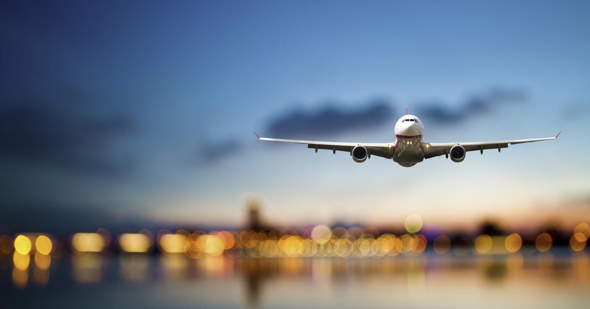 Jet Soars Above City