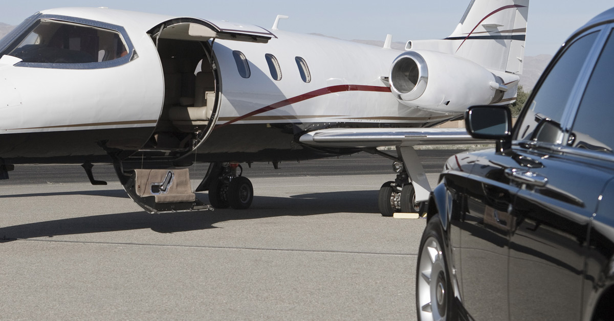 Private Chauffeur Car Waits To Collect Private Jet Passengers