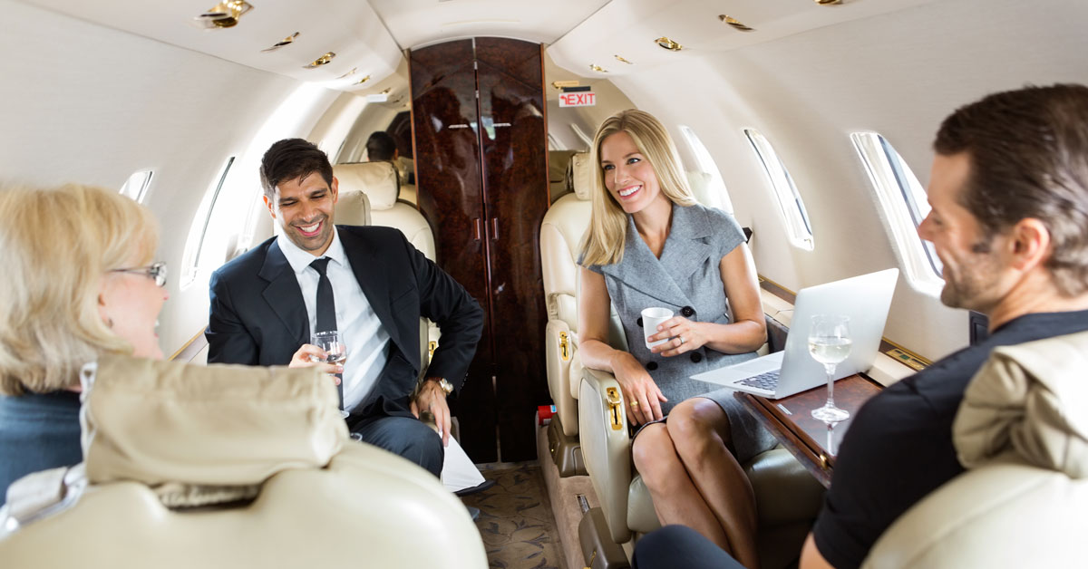 private jet business meeting