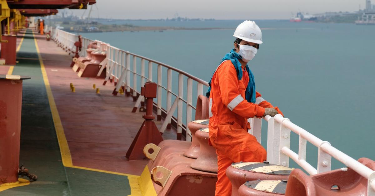 Seafarer wearing face mask