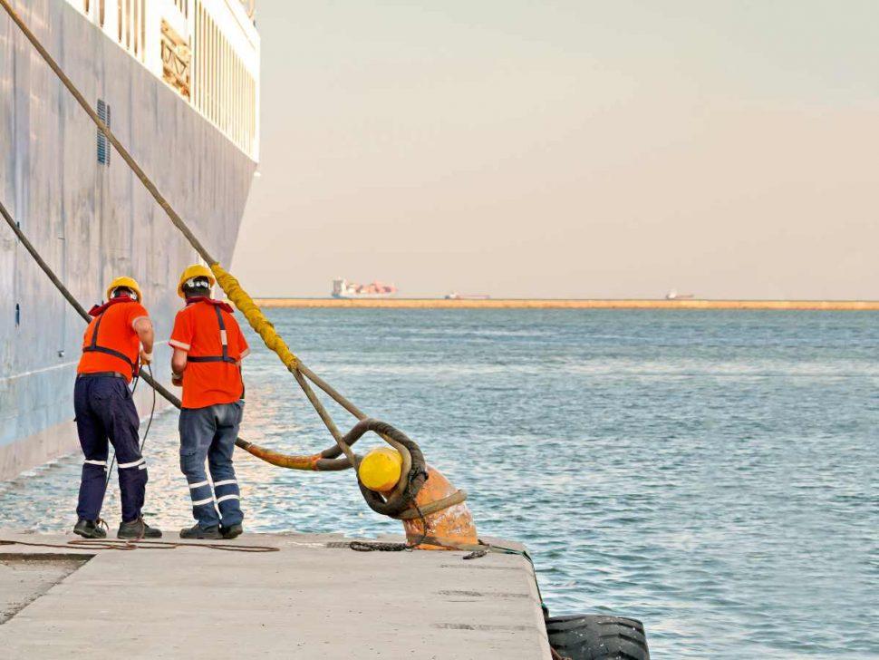 Pair of seafarers secure ship